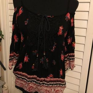 Black and Red Floral Cold Shoulder Top